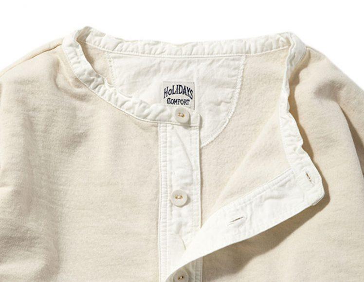 ワンピースのように着られるグランパシャツ
