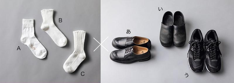白ソックスと靴のベストな組み合わせを答えよ