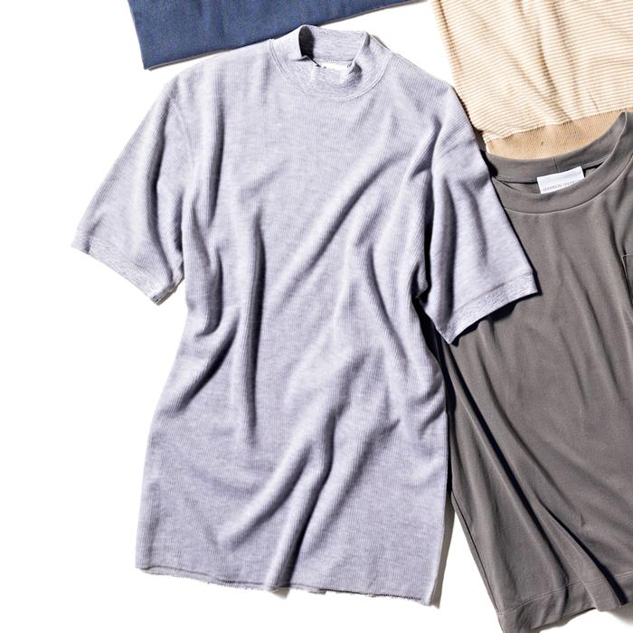 ヘルスニットのベーシックワッフルモックネック半袖シャツ